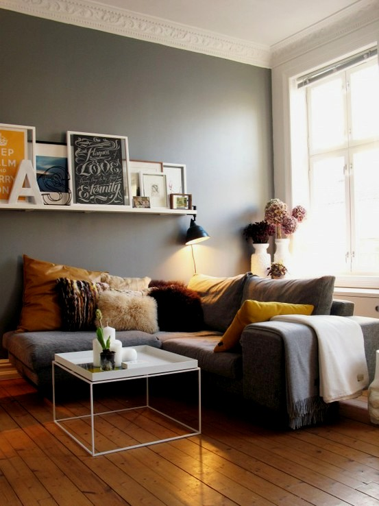 Mustard Yellow and Grey Living Room