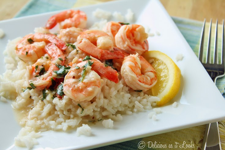 Low-FODMAP Recipe Roundup: Friday Fish Fry {Lemon Shrimp over Rice}  /  Delicious as it Looks