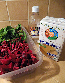 Beets, Beet Greens, Vinegar, and Chicken Broth