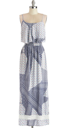 Patchwork style white and blue bohemian maxi dress from Modcloth