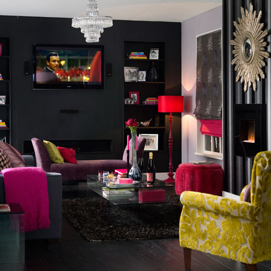 Modern Black House Bright Accents Chic Creating Visual Impact Using Bright Colors Against Dark Walls