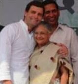 Rahul Gandhi with Sheila Dikshit at a party rally in Mangolpuri