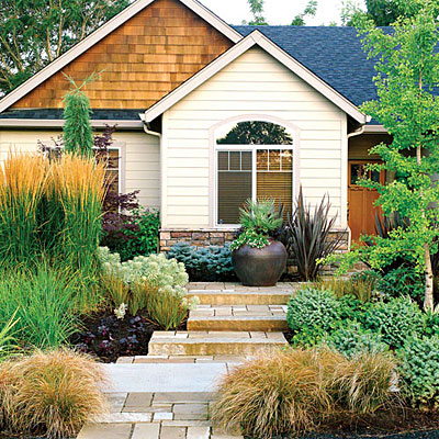 Green fork utah xeriscape a creative landscaping solution for Beautiful no grass front yard designs
