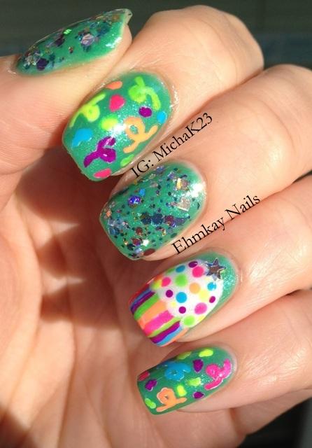 Cheetah nail art neon colors