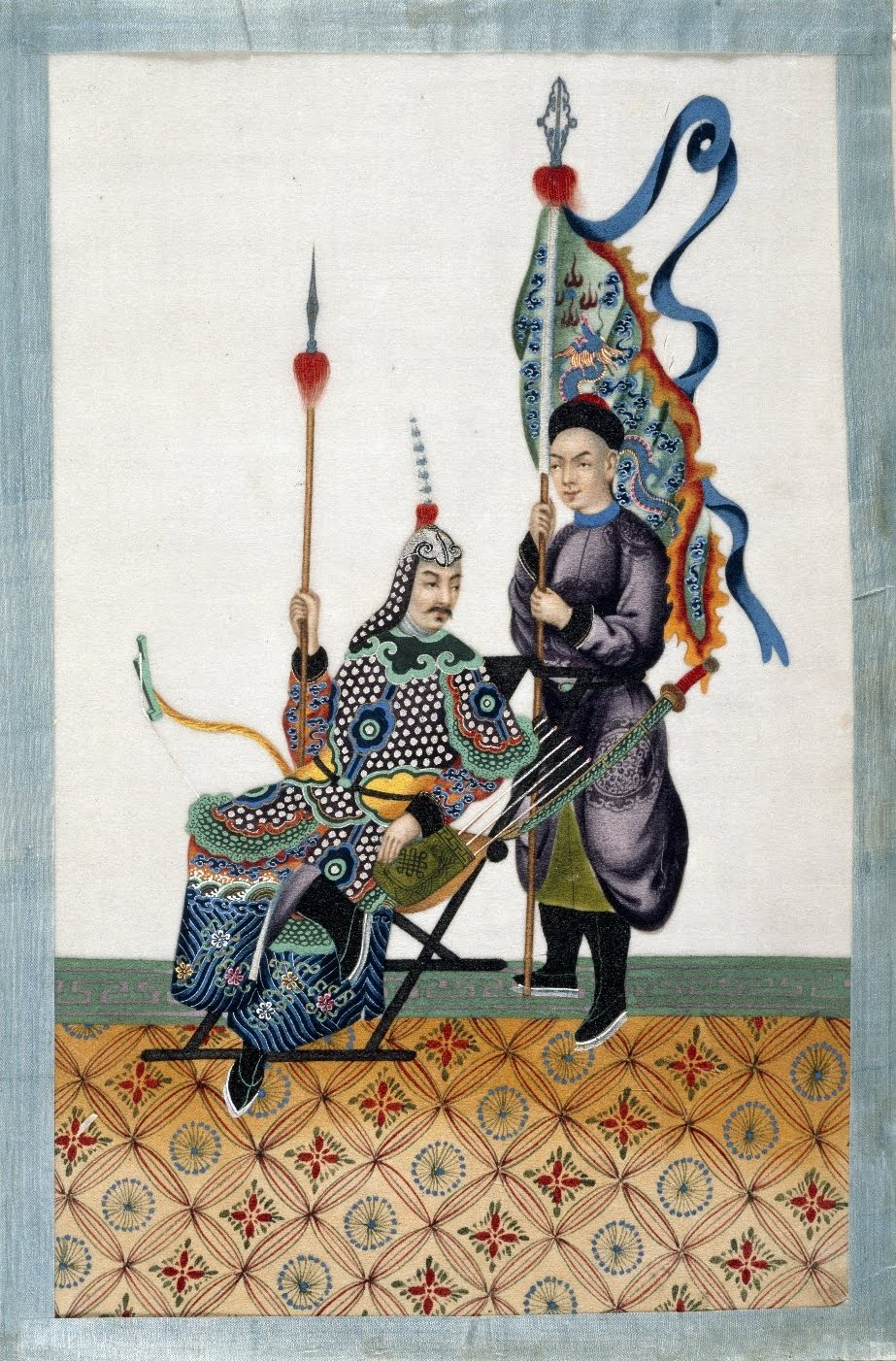 manuscript painting - royal Chinese man served by flag bearing court attendant