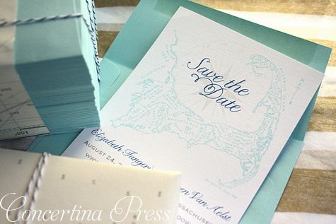 Aqua Cape Cod map save the dates from Concertina Press