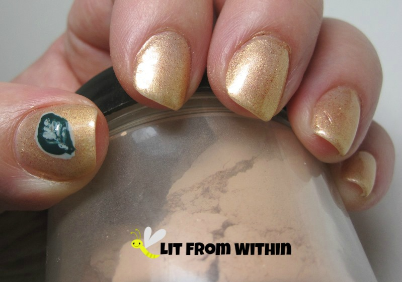 Leaf nail art inspired by Oblige French Rose Clay Mask
