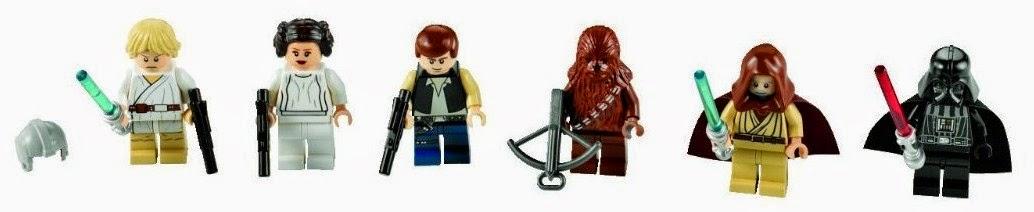 Han Solo, Luke Skywalker, Chewbacca, Ben Kenobi, la princesa Leia Organa y Darth Vader