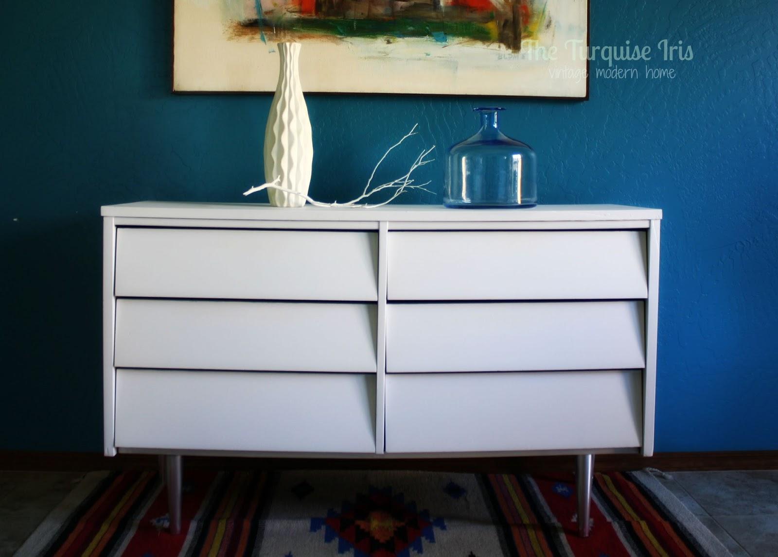White U0026 Chrome Midcentury Dresser Makeover