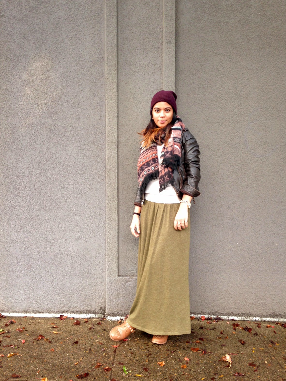 outfit of the day, fall style, maxi skirt, leather jacket, aztec print scarf, beanie, portland blogger, fashion blogger, pdx blogger, filipino fashionista