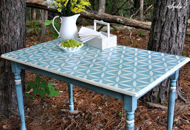 stenciled farm table