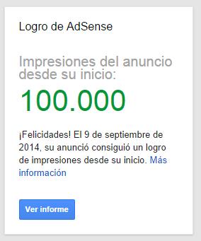100.000 impresiones Adsense