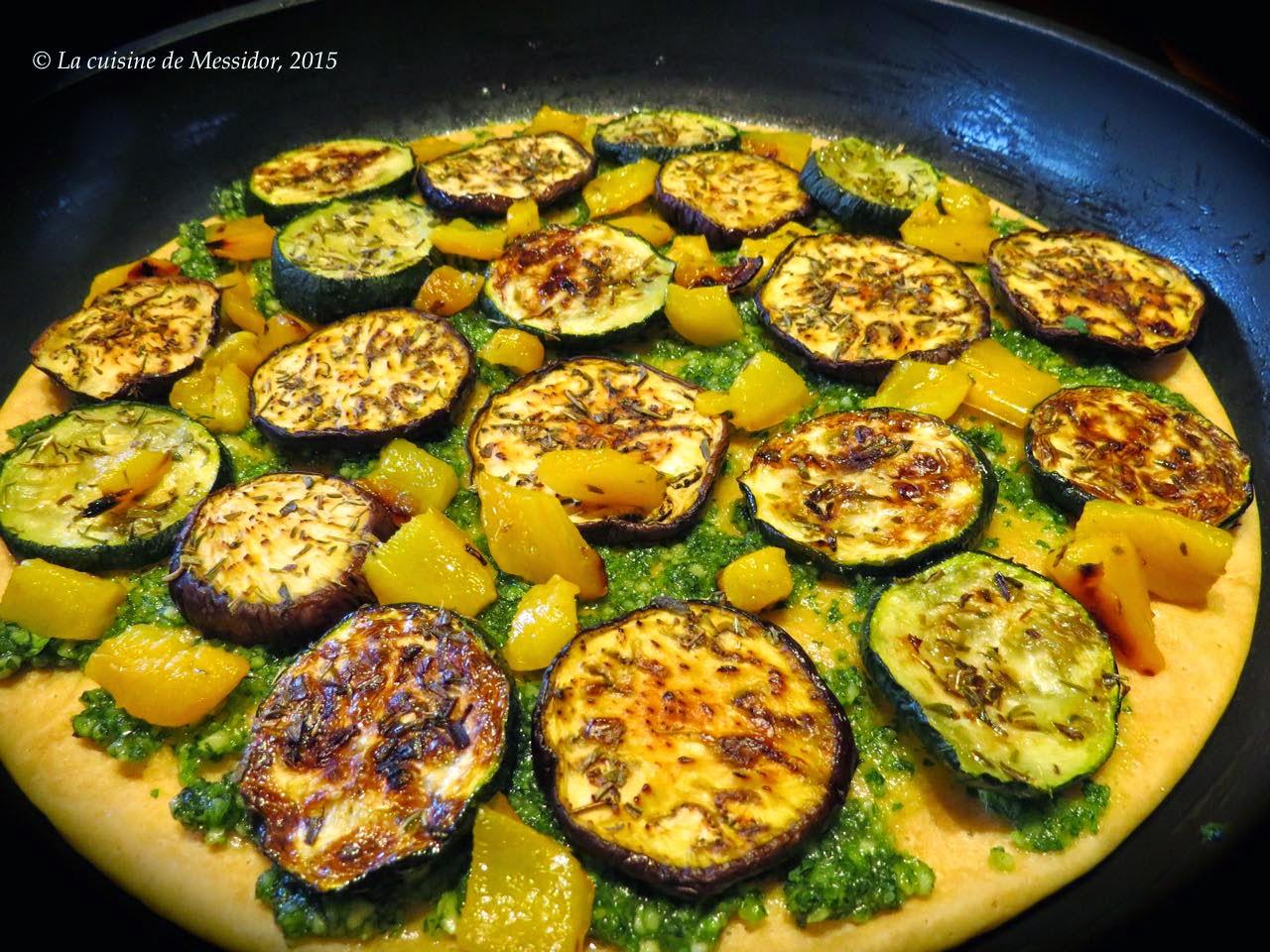 La cuisine de messidor cr pe pizza au pesto et aux l gumes grill s - Recette legumes grilles au four ...