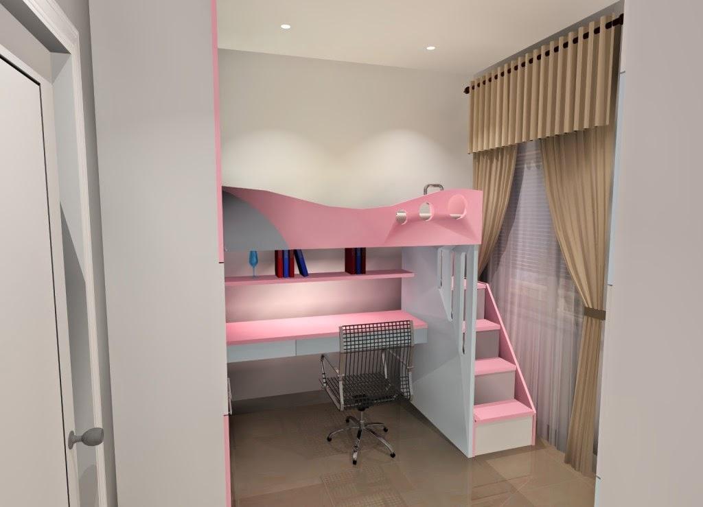 desain kamar tidur anak perempuan yang simple dan cantik