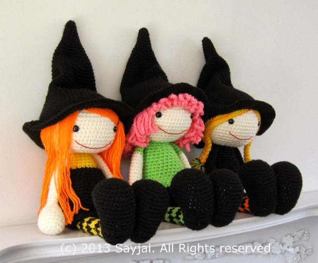 Free Amigurumi Witch Pattern : The 3 Witches Amigurumi Pattern - Sayjai Amigurumi Crochet ...