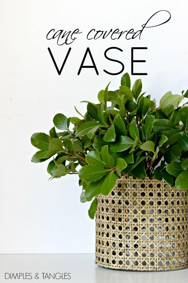 DIY, Cane webbing covered vase, floral arrangement, unique vase