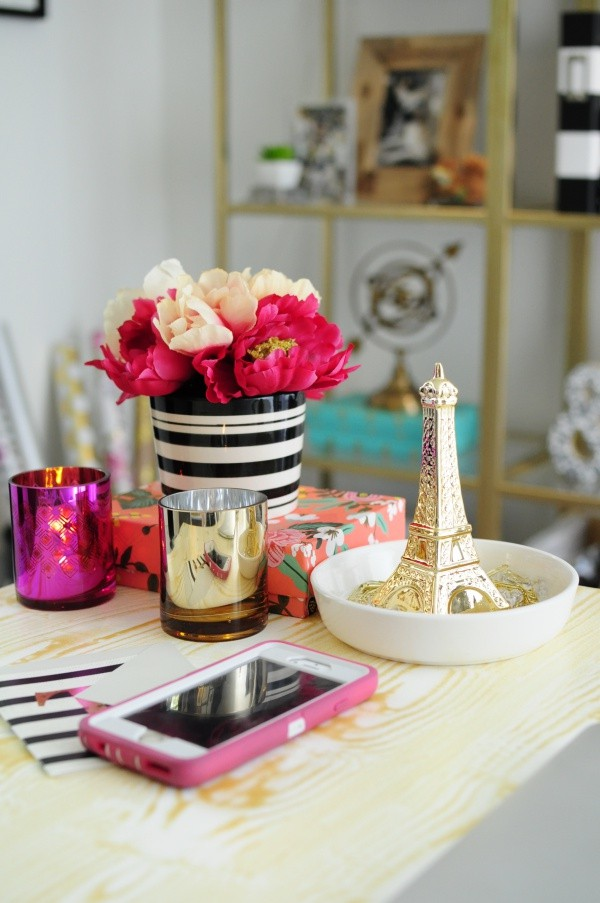 Girly accessories and glam finishes make this home office a luxe retreat. More photos at monicawantsit.com