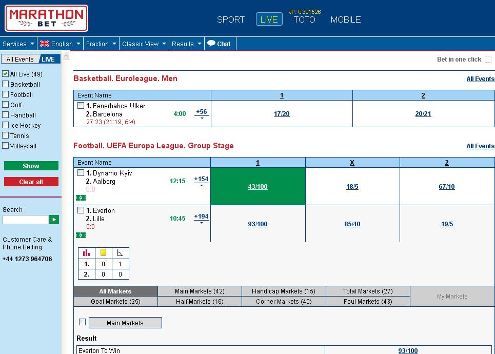 Marathonbet Live Betting Screen