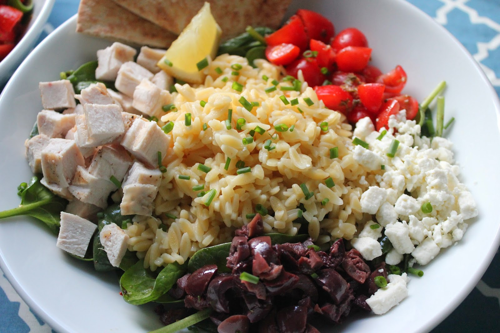 Greek chicken and orzo bowl