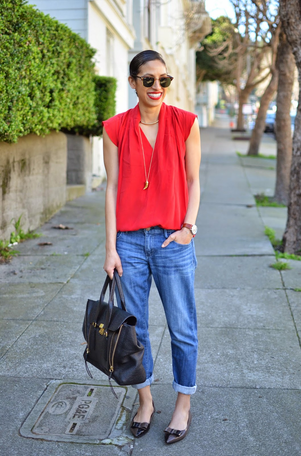 red silk top, scarlet silk top, Podolls silk top, The Podolls, Les Mechantes silk top, SF, San Francisco, OOTD