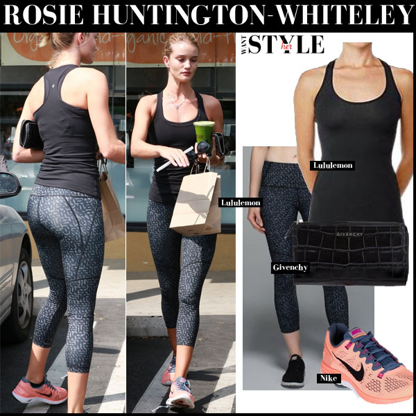Rosie Huntington-Whiteley in black top, grey print leggings and pink sneakers nike lunarglide streetstyle workout fashion