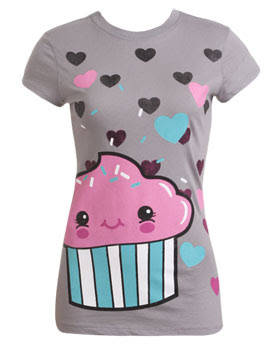 camiseta com ilustração de cupcake