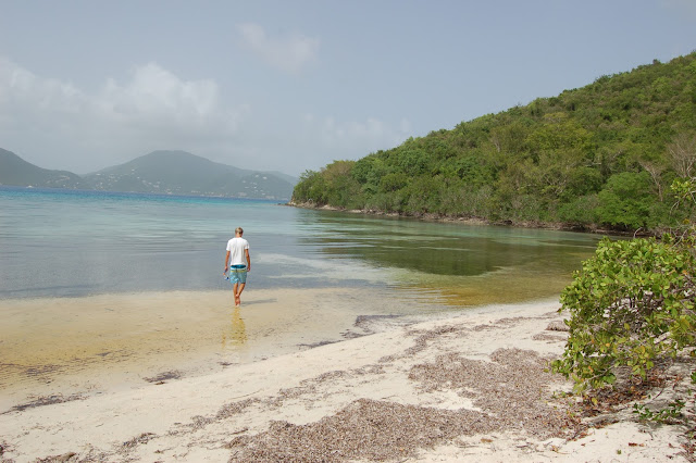 Wading by ourselves in the shallow water at Brown Bay US Virgin Islands