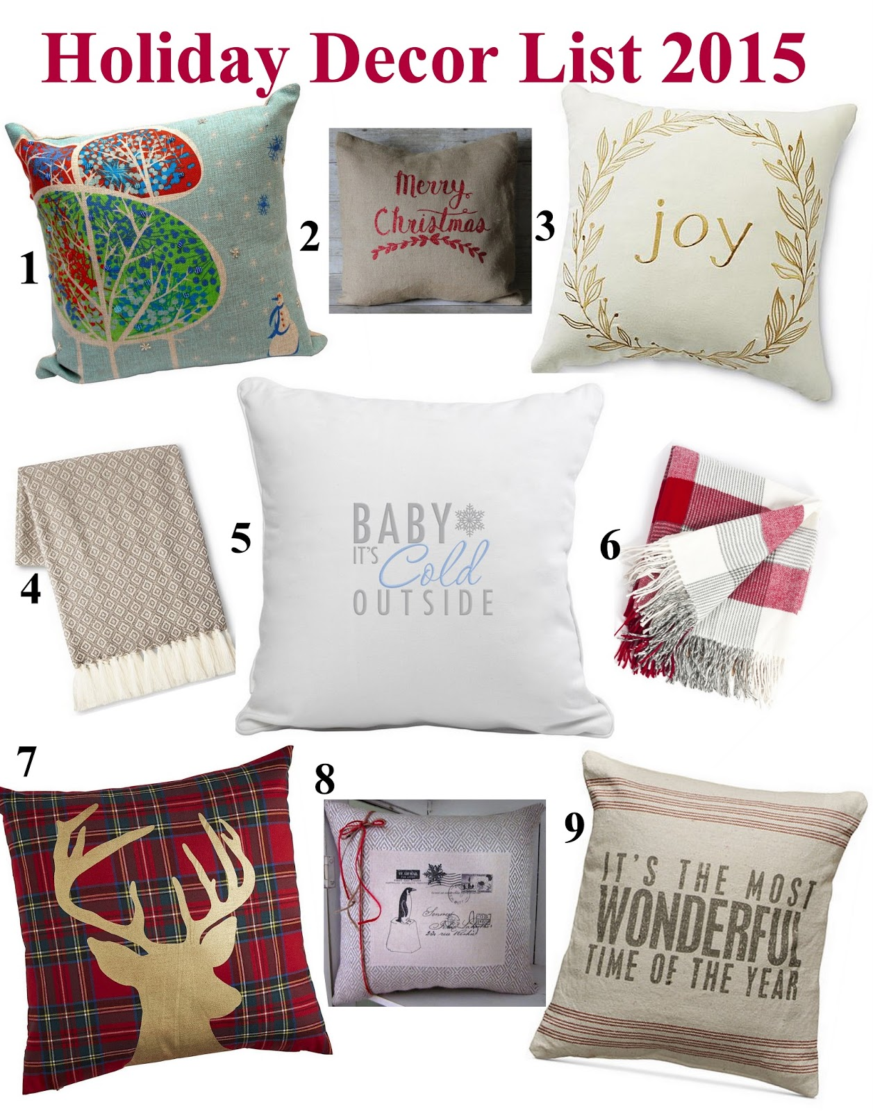Home goods decorative pillow - Joy Typography Holiday Decor Christmas Decorations Merry And Bright