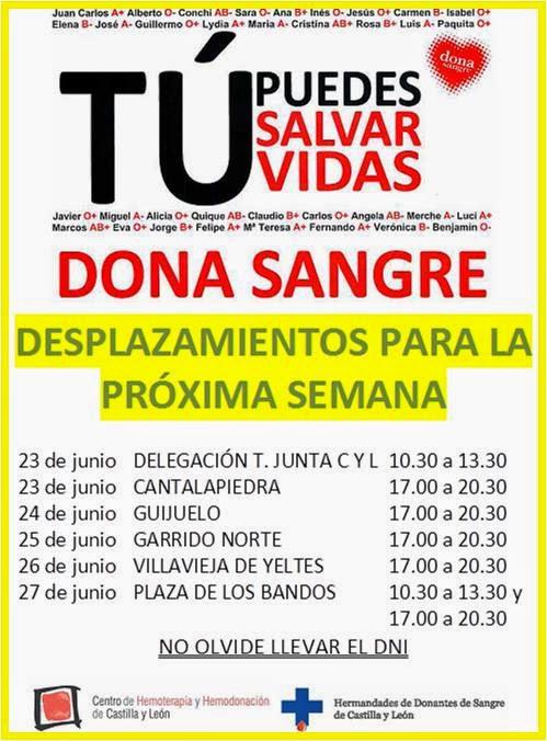 24/Junio. Jornada de donación de Sangre. Guijuelo