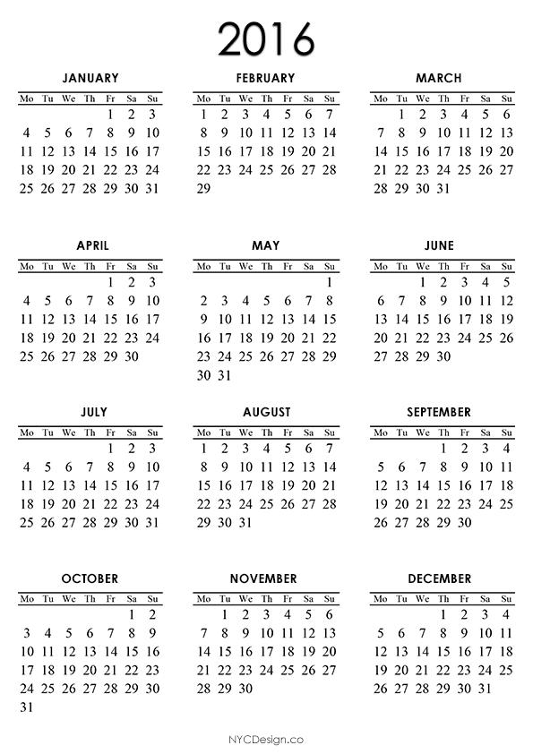 ... New York, NY: 2016 Calendar - Printable - A4 Paper Size - White