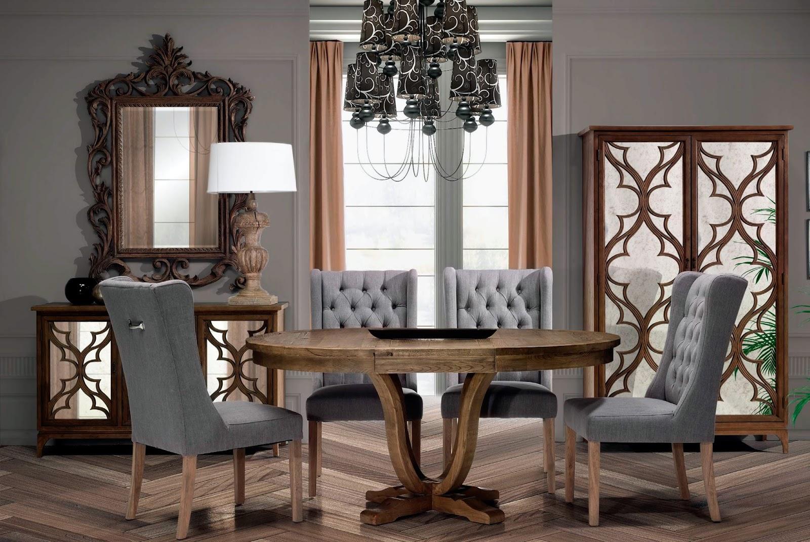 Muebles de comedor 10 comedores con vitrina for Comedor tapizado moderno