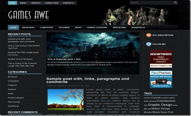 Free Anime Games Black Jquery WordPress Theme