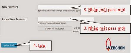 Nhập pass mới trong wordpress