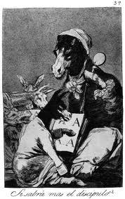 Si sabrá más el discípulo. Grabado de Goya