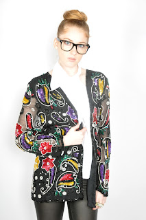 Vintage 1980's multi-colored sequined black blazer trophy jacket.