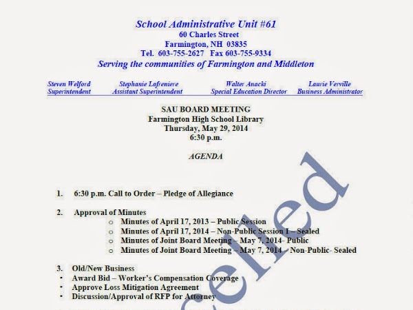 SAU 61 Meeting Tonight Canceled Again-New Date And Time-TBD