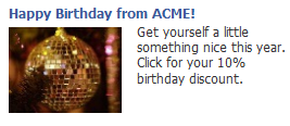 Facebook birthday ad