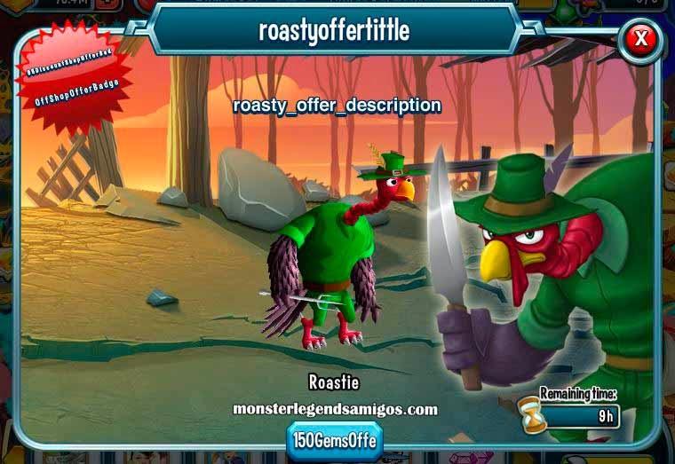 imagen de la oferta del monstruo roastie de monster legends