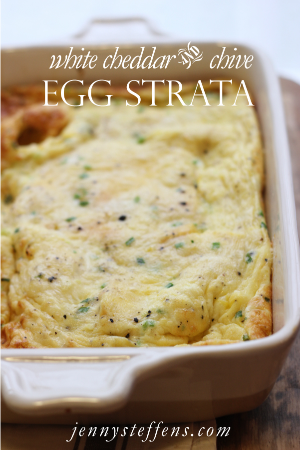 white cheddar chive egg strata recipe - Cheese Strata Recipes Brunch