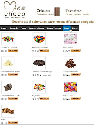 Meu Choco: Tela do site para a escolha das coberturas