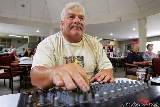Tony Stewart, Hastings, soundman at Napier Country and Variety Music Festival, Taradale RSA, Taradale, Napier. photograph