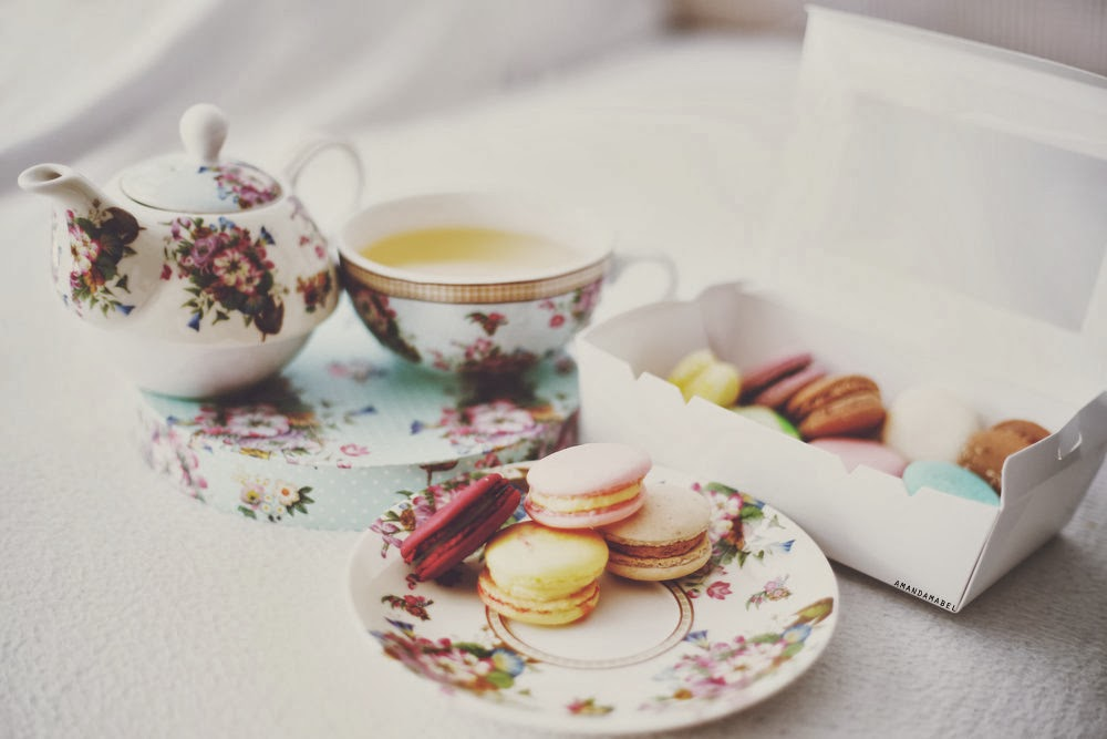 Macarons and tea in Royal Albert china
