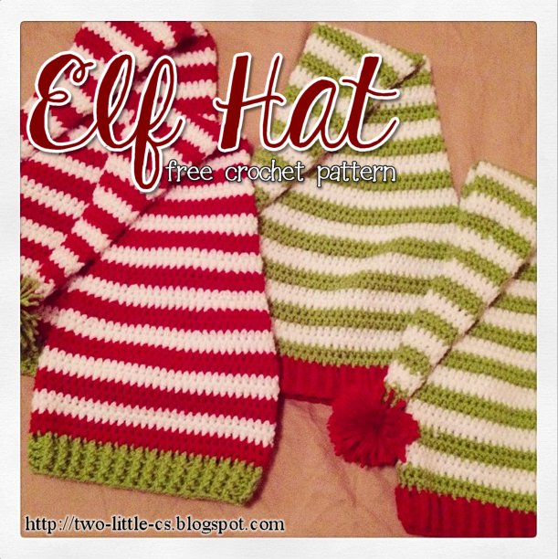 Free Crochet Stocking Hat Patterns For Adults : Two Little Cs: Elf Hat Crochet Pattern