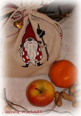 Weihnachtssack, Nikolaus, Stoffsack, Kordel