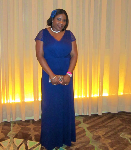 Navy blue maxi, nine west heeled sandals, Avon dinner, Blue and silver