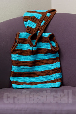 teal and brown striped crochet girls' sleeveless hoodie