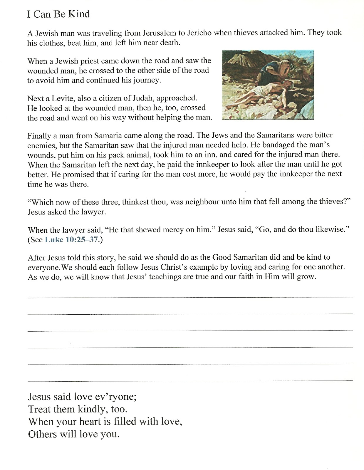 Primary 2 Lesson 28 Manual I Can Be Kind Journal Page