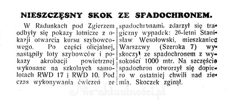 Nieszczęsny skok • Nasz Przegląd, nr 193, 12.07.1939.
