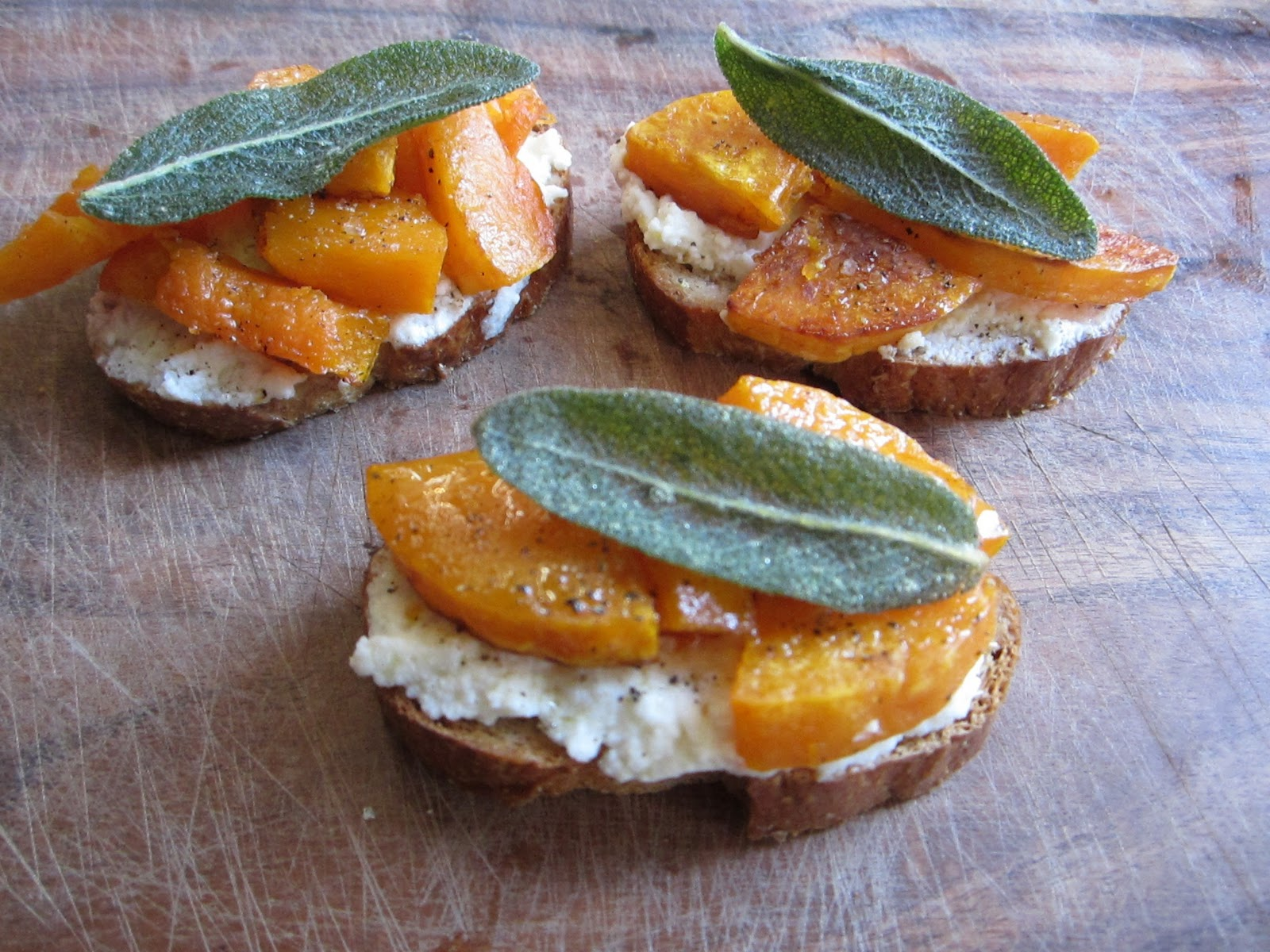 ... Please: Roasted Butternut Squash, Ricotta and Fried Sage Crostinis