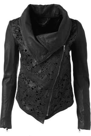 Black leather jacket with cut out filigree or lace-like details and cowl.